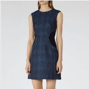 Reiss Kori Textured Print Blue Fit Flare Dress